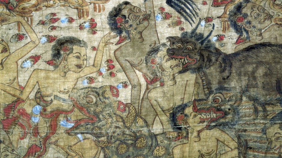Cloth painting, probably used as curtains beside a temple couch