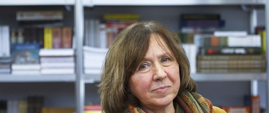 File photo of Belarussian writer Alexievich seen during a book fair in Minsk