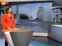 SPD-Chef Sigmar Gabriel  und ZDF-Moderatorin Bettina Schausten in Berlin direkt