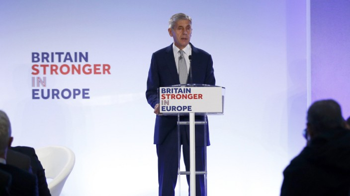 Stuart Rose, leader of the new 'Britain Stronger in Europe' campaign speaks at the campaign's launch in London