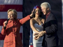 Democratic presidential candidate Hillary Clinton holds a campaign rally with her husband former President Bill Clinton and singer Katy Perry in Des Moines, Iowa