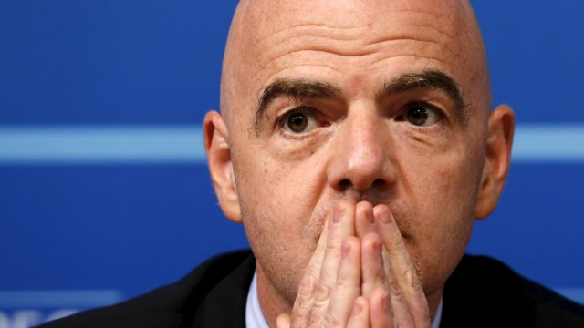 UEFA general secretary Infantino pauses during a news conference following a meeting of UEFA's executive committee in Nyon