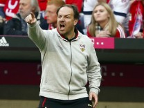 VfB Stuttgart's coach Alexander Zorniger reacts during their Bundesliga first division soccer match against Bayern in Munich