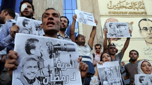 Egyptian journalists protest in Cairo