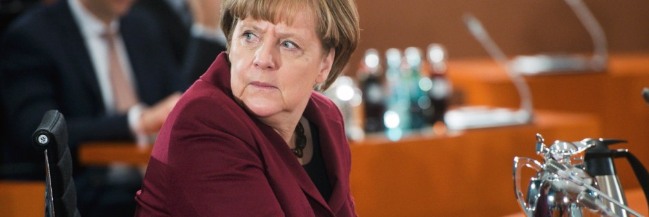 German Chancellor Merkel sits before the start of a parliamentary investigation committee hearing on RWE's Biblis nuclear power plant shutdown, at the Chancellery in Berlin