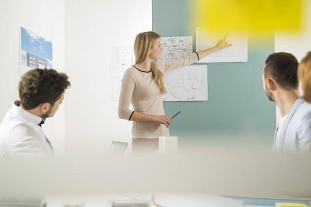 Young woman leading a presentation in a business meeting model released Symbolfoto property released