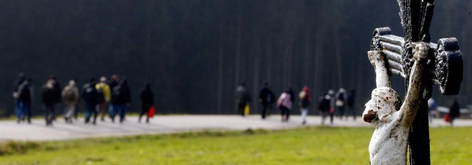 Migrants cross a field as they walk from the Austrian village Kollerschlag towards Austrian-German border in Wegscheid