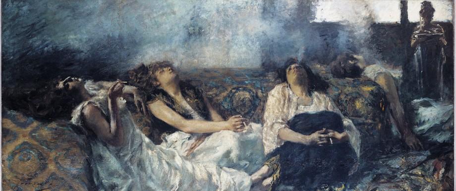 Les fumeuses de Haschich Femmes reunies dans une chambre et savourant les effets du haschisch Pein