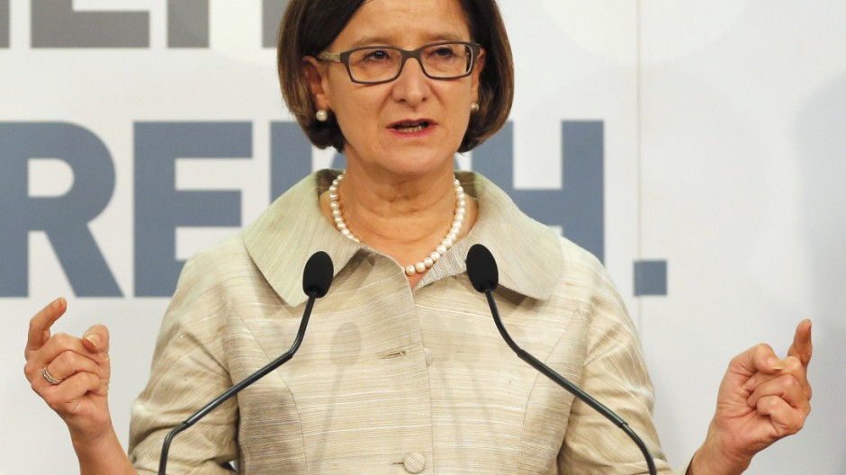 Austrian Interior Minister Mikl-Leitner addresses a news conference in Vienna