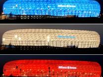 Beleuchtete Allianz-Arena in München