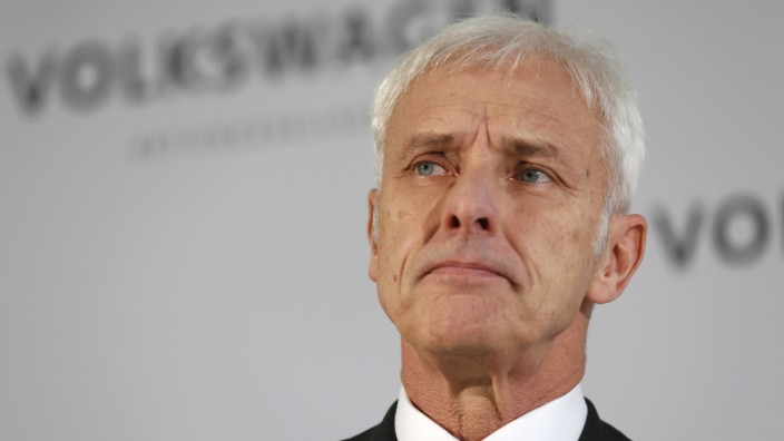 Volkswagen CEO Matthias Mueller makes a statement at the VW factory in Wolfsburg