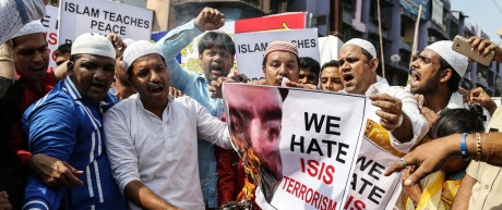 Protest against Islamic State of Iraq and Syria (ISIS) and solida