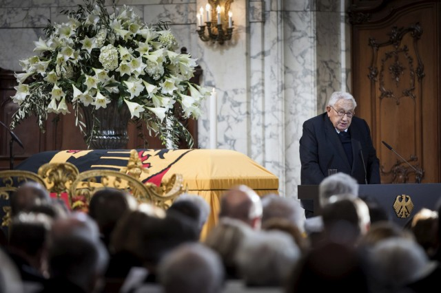 Former US Secretary of State Kissinger makes a speech during memorial service for late former West German Chancellor Schmidt  in Hamburg