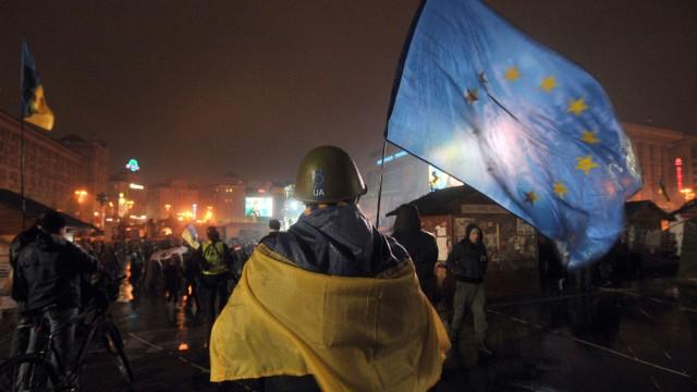 EU-Fahne auf dem Maidan