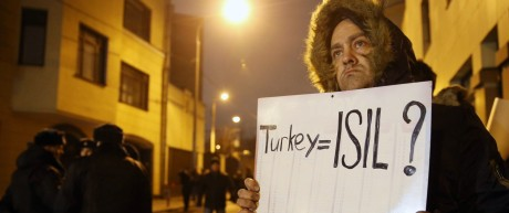 MOSCOW RUSSIA NOVEMBER 24 2015 A man stages a one person protest outside the Turkish Embassy in
