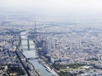 A file photo shows an aerial view shows the Paris skyline