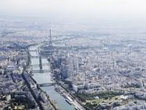 A file photo shows an aerial view shows the Paris skyline