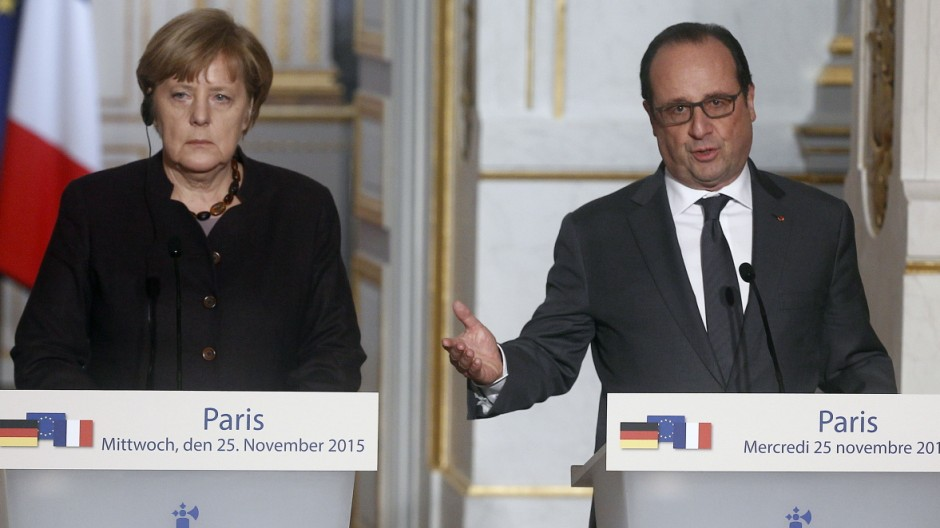 French President Francois Hollande Receives  German Federal Chancellor Angela Merkel At Elysee Palace