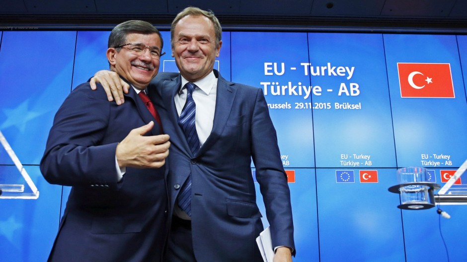 Ahmet Davutoglu und Donald Tusk in Brüssel