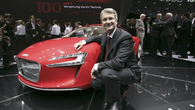 File photo of Rupert Stadler, CEO of German car manufacturer Audi, posing next to e-tron, a high-performance sports car with a purely electric drive during the media day at the international car show 'IAA' in Frankfurt