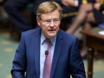 BRUSSELS BELGIUM N VA Finance Minister Johan Van Overtveldt pictured during a plenary session o