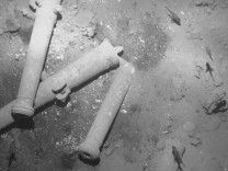 Artifacts found in the wreckage of Spanish galleon San Jose are seen in this undated handout photo provided by the Colombian Ministry of Culture