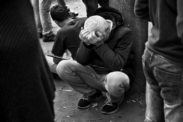 Flüchtlinge vor LaGeSo in Berlin
