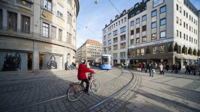 Polizei in München Dreharbeiten in der Fußgängerzone