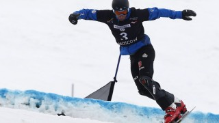 MOSCOW RUSSIA MARCH 7 2015 Snowboarder Patrick Bussler of Germany competes in a qualifying heat; Snowboard