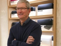 Apple Chief Executive Officer Tim Cook speaks during a event for students to learn to write computer code at the Apple store in the Manhattan borough of New York