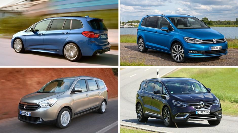 BMW 2er Gran Tourer, VW Touran, Dacia Lodgy und Renault Espace