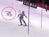 Absturz einer Kamera-Drohne beim Skirennen