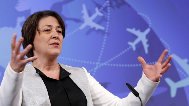 EU Transport Commissioner Bulc addresses a news conference on European Aviation Strategy in Brussels