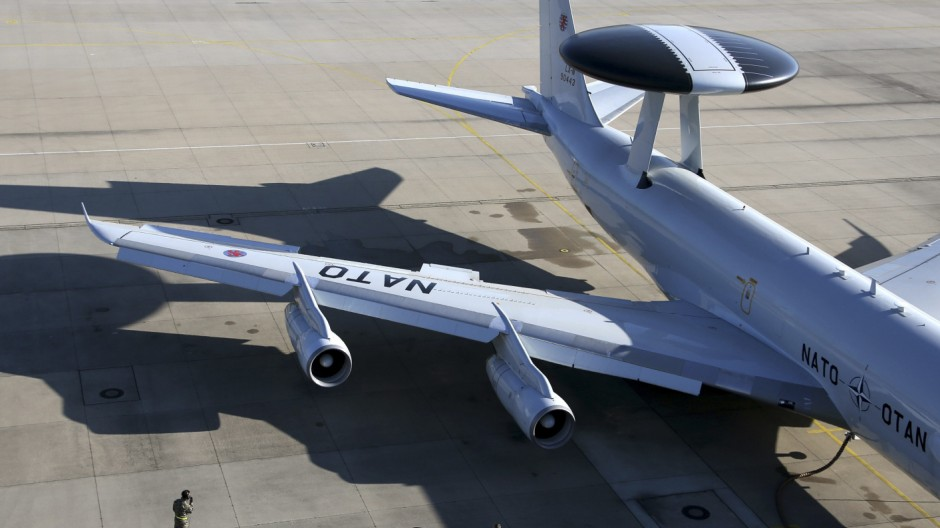 NATO AWACS aircraft is seen on the tarmac at the AWACS air base in Geilenkirchen near the German-Dutch border