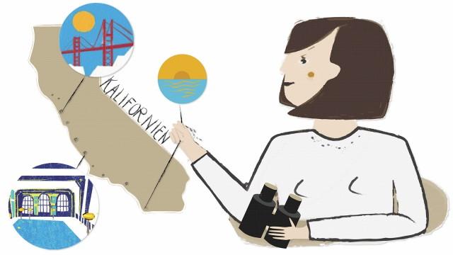 Illustration für Kalifornien-Kolumne von Bea Wild - Lieblingsplätze