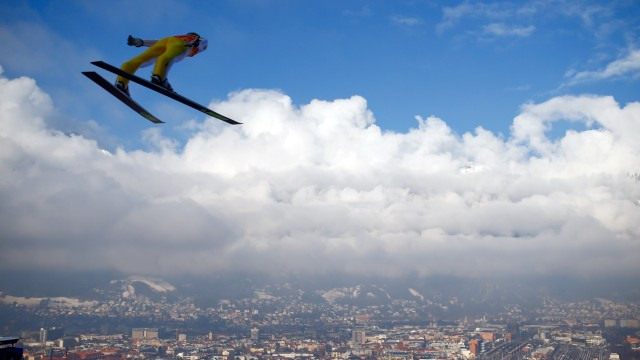 Prevc of Slovenia soars through the air during a trial jump for the third jumping of the 64th four-hills ski jumping tournament in Innsbruck