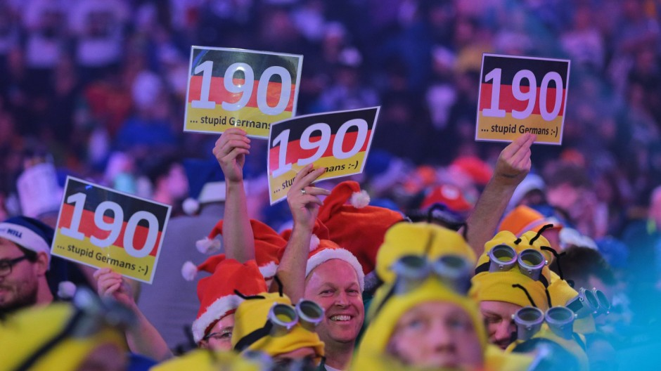 01 01 2016 Alexandra Palace London England William Hill PDC World Darts Championship German fan