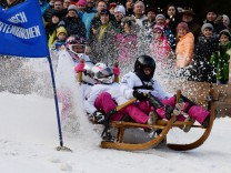 Traditionelles Hornschlittenrennen