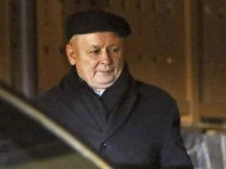 Kaczynski, leader of Poland's ruling Law and Justice party (PiS)  leaves a guest house  after a meetig with Hungarian Prime Minister Orban in Niedzica
