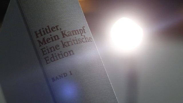 A copy of the book 'Hitler, Mein Kampf. A Critical Edition' is displayed prior to a news conference in Munich