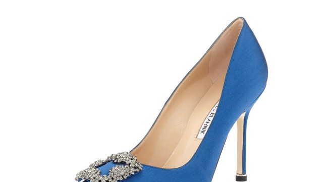 Blue satin pumps