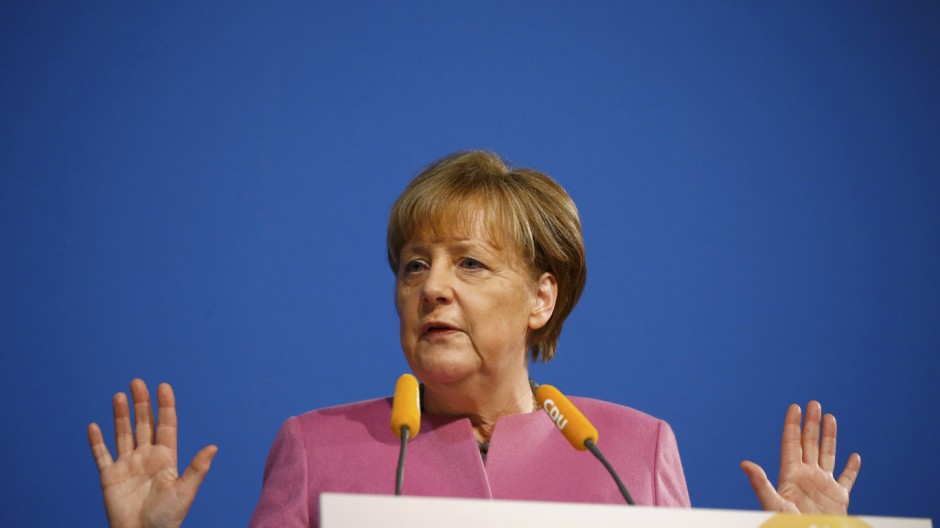 German Chancellor Merkel makes speech during CDU New Year reception in Mainz