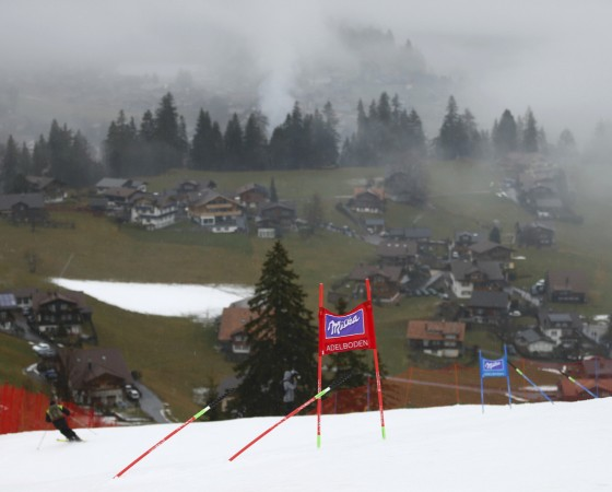 A gate of the Men's Giant Slalom Alpine Skiing World Cup race is pictured in Adelboden