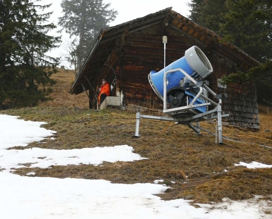 A traditional wooden hut is seen next to the course of the Men's Giant Slalom Alpine Skiing World Cup race in Adelboden