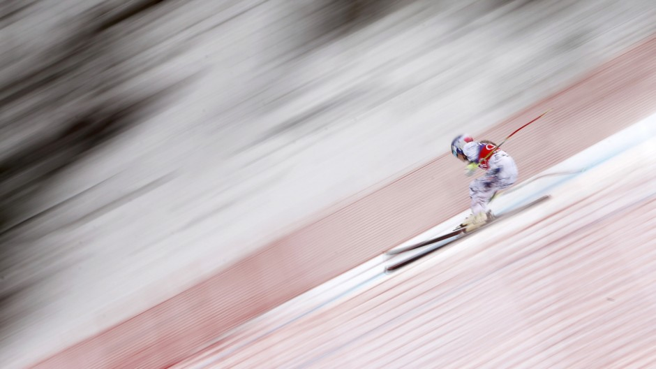 Vonn of the U.S. skis in the second run of the Women's Sprint Downhill race of the Alpine Skiing World Cup in Zauchensee
