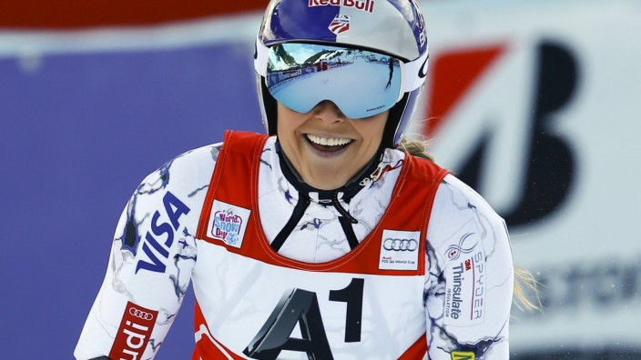 Vonn of the US reacts following the women's Super G race of the Alpine Skiing World Cup in Zauchensee