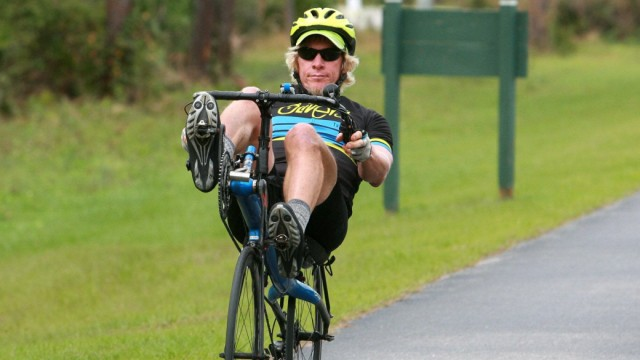 Jan 5 2016 Tampa Florida U S Kurt Searvogel takes off down the bike path at Flatwoods Park