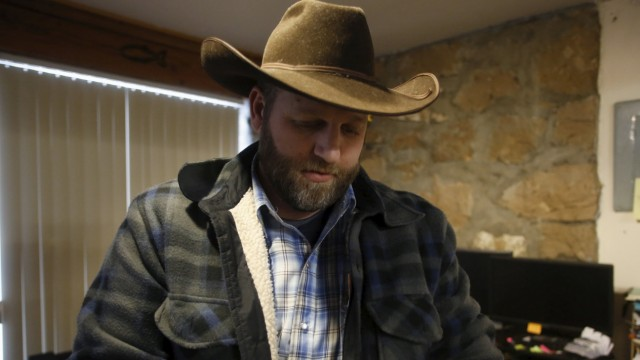 Ammon Bundy is seen in an office at the Malheur National Wildlife Refuge near Burns