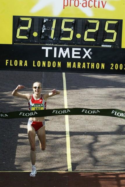 Paula Radcliffe of Great Britain winning the Marathon