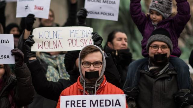Demo für Pressefreiheit in Polen
